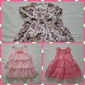 Lot Of 3 Baby Girl's Pink Floral Dresses